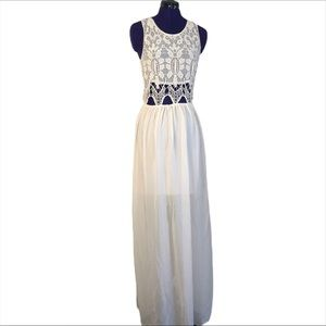 Poetry Cream White Lace Maxi Dress